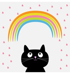 Rainbow and pink heart rain with cute cartoon cat vector