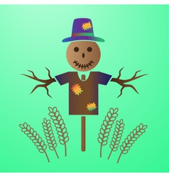 Color scarecrow in the field of grain eps10 vector