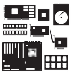 Internal desktop computer components black symbols vector
