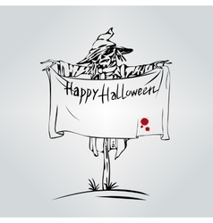 Welcome to holiday halloween scarecrow vector