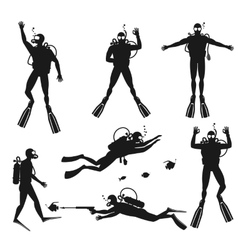 Scuba diver silhouettes diving silhouettes on vector