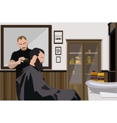 Client visiting hairstylist in barber shop vector