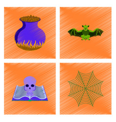 assembly flat shading style icon ghost spider book vector image