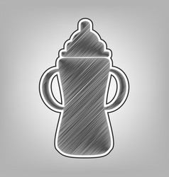 Baby bottle sign pencil sketch imitation vector