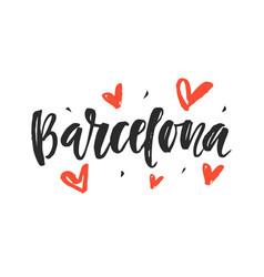barcelona modern city hand written lettering vector image