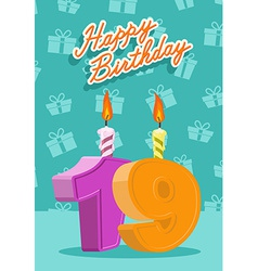 Birthday candle number 19 with flame vector image vector image