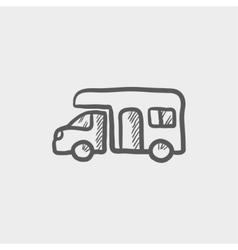 Camper van sketch icon vector