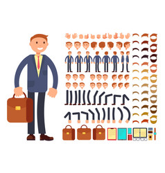 cartoon businessman customizable character vector image vector image