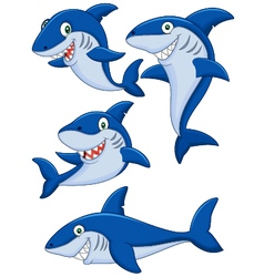 Cartoon shark collection set vector