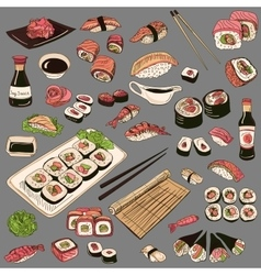 Colored hand drawn sushi set vector