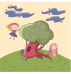 doodle landscape with big old oak-tree fairies vector image vector image