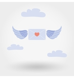 Envelope with wings and heart in the clouds vector image
