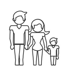 Family dad mom and son outline vector