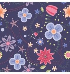 Flowers pattern vintage on dark blue vector image