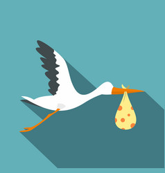 Flying stork with a bundle icon flat style vector