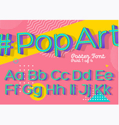 font in pop art style colorful funny retro type vector image vector image