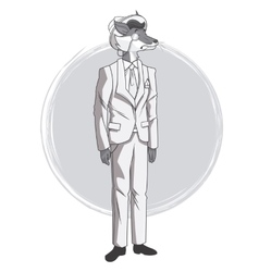 Fox fashion animal hipster white and grey design vector