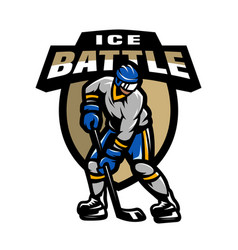 Hockey player logo emblem vector