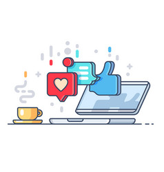 likes and comments on social network vector image vector image
