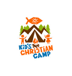 logo of kids christian camp vector image