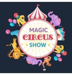 Magic Circus Round Composition vector image