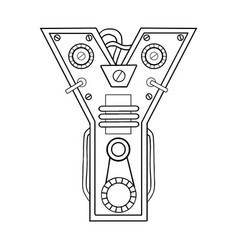 mechanical letter y engraving vector image vector image