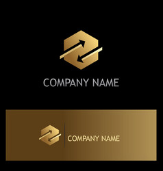 polygon arrow gold company logo vector image