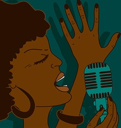 Portrait of singing woman vector