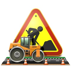 Road Construction Concept with Compactor vector image