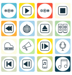 set of 16 audio icons includes music control vector image