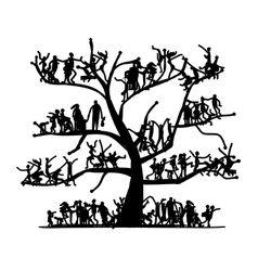 Tree of people sketch for your design vector