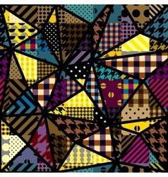 Yellow patchwork pattern vector image vector image