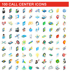 100 call center icons set isometric 3d style vector image