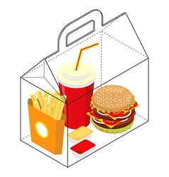 Fast food box packing for breakfast french fries vector