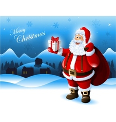Santa Claus holding a gift box greeting card vector image