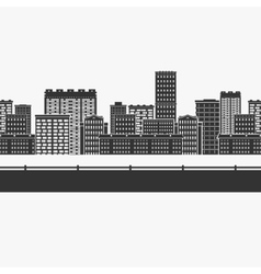Seamless pattern the city buildings vector