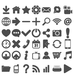 Grey web icons set on white vector