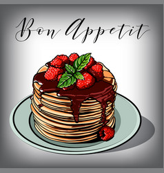 pancake breakfast cafes berries vector image
