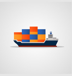 Flat colored loaded container ship vector