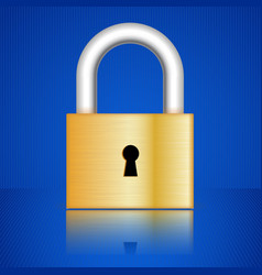 golden padlock with frontal key hole vector image