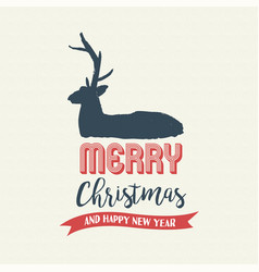 Christmas text quote calligraphy deer vector