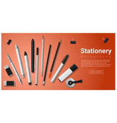 Stationery scene with set of office supplies vector