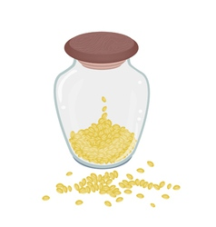 A lot of split peas in glass bottle vector