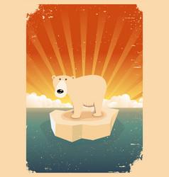 White polar bear vintage grunge poster vector