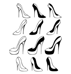 Silhouettes of shoes vector