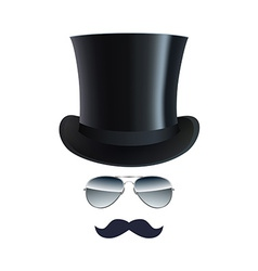 Hat glasses and mustache isolated on white vector