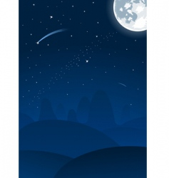 night landscape with moon vector