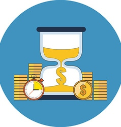 Time is money concept flat design icon in blue vector