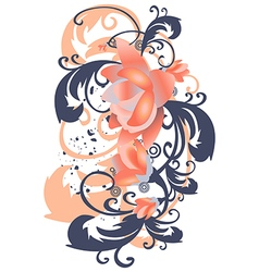 Roses leaves vertical stylized flowers branches vector
