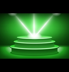 Green illuminated stage podium for award ceremony vector
